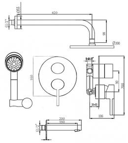Душевой комплект скрытого монтажа 300*300 BENNBERG 140313 CHROME