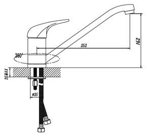 Смеситель для кухни Bennberg однорычажный 200052 -02 Хром