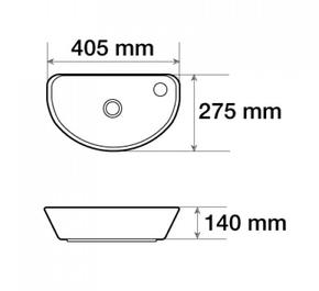 Керамическая подвесная раковина Ceramalux 7717X