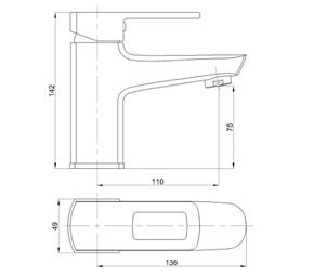 Смеситель для умывальника Bennberg однорычажный с гигиенической лейкой 111H23 Хром