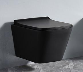 Унитаз подвесной безободковый RIMLESS Ceramalux 5171MB, черный матовый