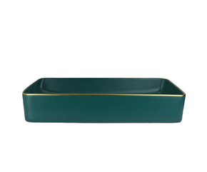 Керамическая раковина BronzeDeLuxe 1061 зеленая с золотым ободом