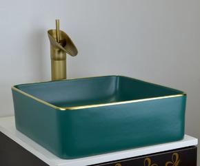 Керамическая раковина BronzeDeLuxe 1063 зеленая с золотым ободом
