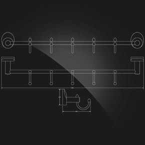 Вешалка с 5 крючками Elghansa WORRINGEN WRG-650, хром