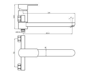 Смеситель для ванны Bennberg однорычажный 130212-02 Бронза