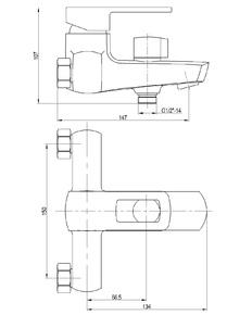 Смеситель для ванны Bennberg однорычажный 131023 Хром