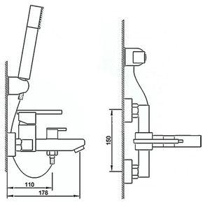 Смеситель для ванны Bennberg однорычажный 131122 Хром