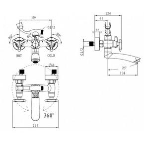 Смеситель для ванны KAISER Trio 57122-2 Black