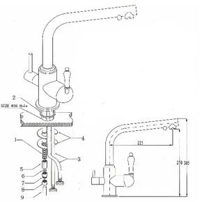 Смеситель для кухни под фильтр KAISER Vincent 31144-2 Black Sandbeige