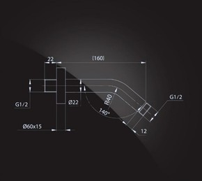 Кронштейн для верхнего душа 160х22 мм Elghansa CR-15 хром