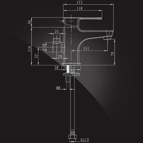 Смеситель Elghansa SCARLETT NEW 1612245 для умывальника с возможностью подключения шланга, хром