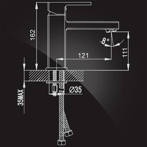 Смеситель Elghansa MONDSCHEIN NEW 1620233 для умывальника однорычажный, хром