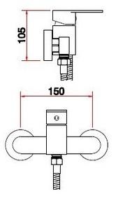 Смеситель настенный для биде Bennberg одноручковый 170H12 Бронза