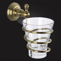 Стакан для ванной с держателем Elghansa PRAKTIC Bronze Accessories PRK-413-Bronze стекло, бронза