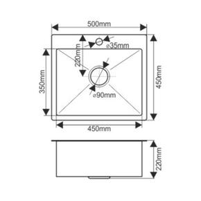 Мойка H5045 MELANA ProfLine 3,0/200 САТИН врезная прямоугольная с коландером