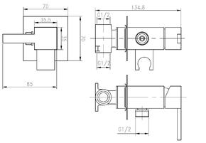 Смеситель Bennberg для биде встраиваемый с гигиеническим набором 18K011 хром