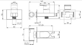 Смеситель Bennberg для биде встраиваемый с гигиеническим набором 18K0170 хром