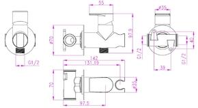 Смеситель Bennberg для биде встраиваемый с гигиеническим набором 18K0370 хром
