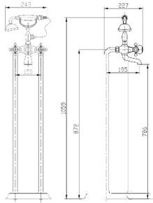 Смеситель для ванны напольный Timo Nelson 1900/00Y-CR Хром