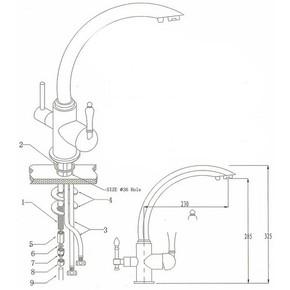 Смеситель для кухни под фильтр KAISER Vincent 31244-10 White