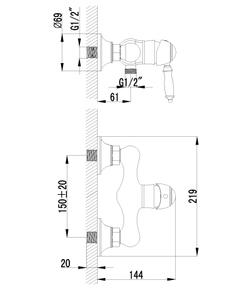 Смеситель для душа Lemark Villa LM4803B бронза