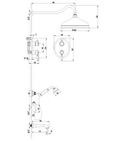 Душевая система скрытого монтажа Lemark Villa LM4822B бронза