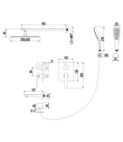 Душевая система скрытого монтажа Lemark Melange LM4922CW хром/белый