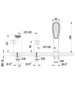 Смеситель для ванны Lemark Melange LM4945CW хром/белый