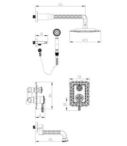 Душевая система Lemark Jasmine LM6622ORB черная бронза