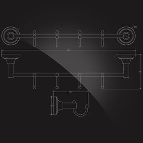 Вешалка с 4 крючками Elghansa CARRINGTON CRG-640 , хром