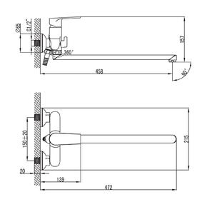 Смеситель для ванны Iddis Edifice с длинным изливом EDISBL2i10