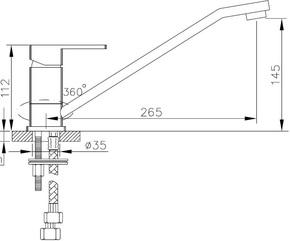 Смеситель для кухни Bennberg однорычажный  200020 Хром