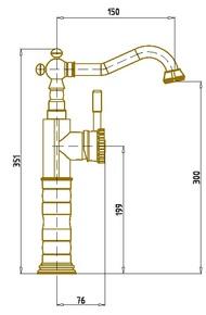 Смеситель для умывальника BronzeDeLuxe WINDSOR 21888