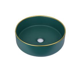 Керамическая раковина BronzeDeLuxe 1054 зеленая с золотым ободом