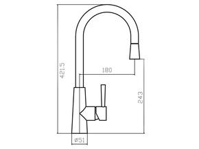 Смеситель для кухни с вытяжной лейкой Zorg SZR-1148P FLORA