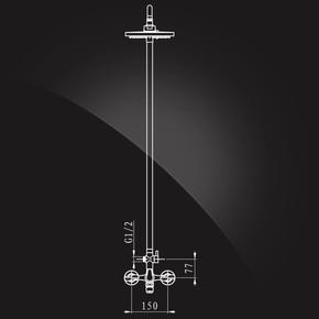 Душевая система Elghansa NEW WAVE ZETA 2307592-2A со стационарной ABS лейкой 200 мм, хром
