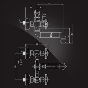 Душевая система Elghansa PRAKTIC CHROME 2312660-2F со стационарной лейкой 200 мм.