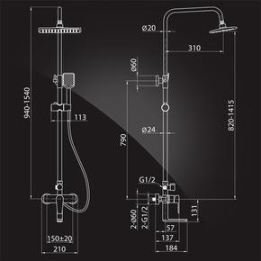 Душевая система Elghansa EMERALD NEW 2392510-2B с  ABS верхним душем, хром