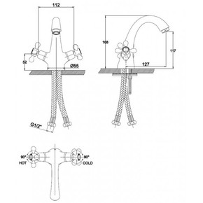 Смеситель для раковины KAISER Carlson Style 44311-1