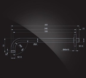 Кронштейн для верхнего душа 330х20 мм, хром Elghansa CR-32