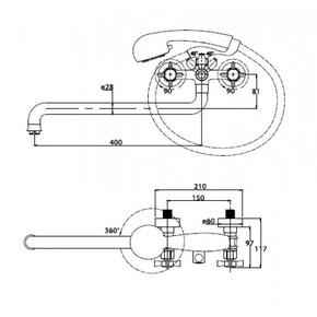 Смеситель для ванны KAISER Cross 41055-1 Bronze