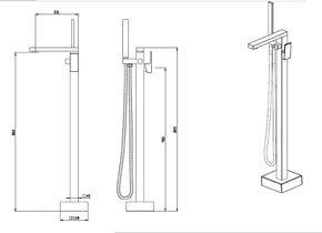 Смеситель для ванны напольный Bennberg 26N111 Gold