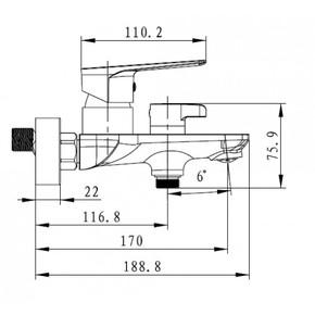 Смеситель для ванны KAISER Atrio 60022,хром/белый