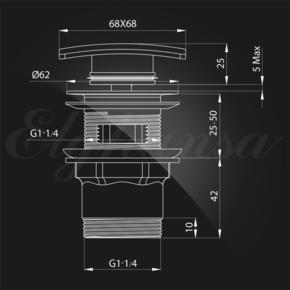 Elghansa WASTE SYSTEMS WBT-225 для раковины с переливом, хром