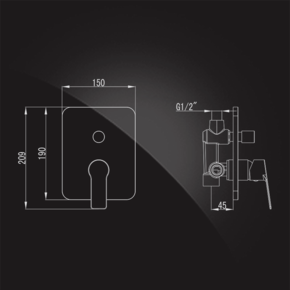 Смеситель Elghansa WELLESLEY 34K1344 для скрытого монтажа однорычажный без душевого комплекта, хром