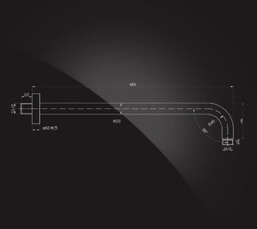 Кронштейн для верхнего душа 400х22 мм Elghansa CR-03 хром