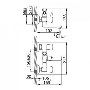 Смеситель для ванны Milardo Bering с коротким изливом BERSB00M02