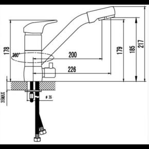 Смеситель для кухни под фильтр KAISER Safira 15066-9 Black