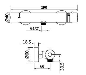 Смеситель для душевой кабины Bennberg Термостат без Д/К 404G50 Хром