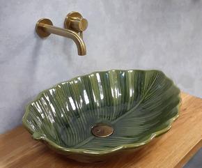 Керамическая раковина BronzeDeLuxe LEAF 2430 зеленый глянец